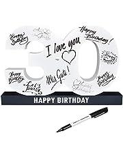 CREOFANT Libro de visitas XL para 30 cumpleaños · Libro de visitas Happy Birthday · 37 cm x 24 cm · 30 cumpleaños · Idea de regalo para 18 cumpleaños