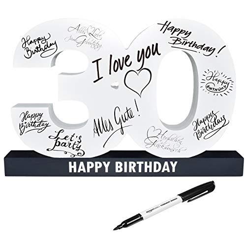 CREOFANT XL Gästebuch 30. Geburtstag · Gästebuch Happy Birthday · 37 cm x 24 cm · 30....