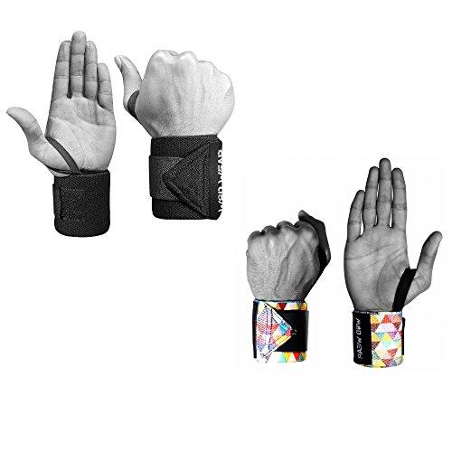 Elastic Wrist Wraps - 18 Inch Pair for Fitness, Powerlifting, Bodybuilding, Weight Lifting, Cross-Training Wrist Supports for Weight Training - with Hook and Loop Grip (2 Pack - Diamond-Black)