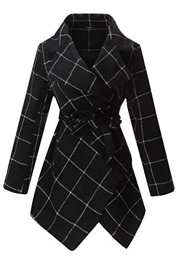 PLREOSEVNTE Abrigo de mezcla de lana con cinturón para mujer, cuello de vuelta, asimétrico, abrigo…, chamarra, L, Azul marino/ Anaranjado