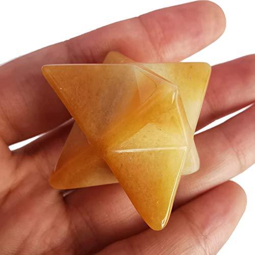 Lovionus89 Jade Merkaba natural amarillo, protección sagrado, meditación, energía generador, curación chakra, estrella de seis puntas, 2,5 cm