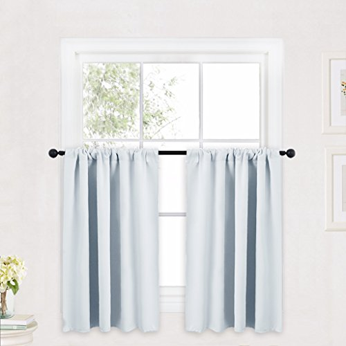 RYB HOME Kitchen Curtains and Valance Set, Room Darkening Curtain Tiers with Rod Pocket Top, Small Window Curtain Draperies for Nursery/Dining Room/Bathroom, 42 W x 36 L, Grayish White, 2 Panels