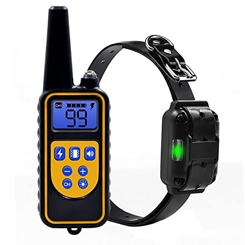 Cuello de entrenamiento para mascotas Recargable recargable con pantalla LCD al aire libre ultrasónico de ladrido de ladridos perro collar eléctrico 800m Adecuado para varios tamaños de collares de co