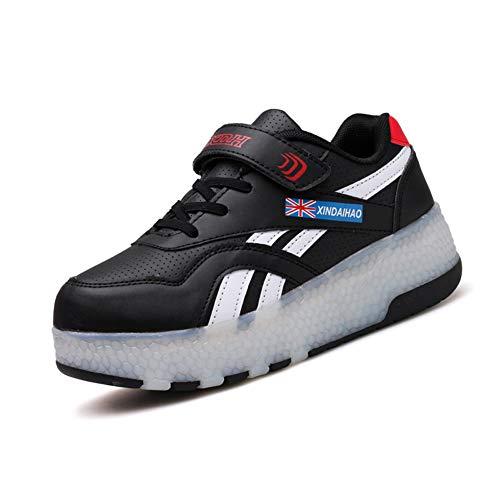 MNVOA Zapatos con Ruedas USB LED Zapatillas con Luces Color Deporte Zapatos De Skate Roller Deportivos Zapatos Trainers Monopatín Sneaker,Negro,28 EU
