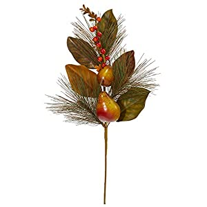 Nearly Natural 24in. Pear, Pine and Magnolia Leaf Artificial (Set of 6) Silk Flowers, Orange