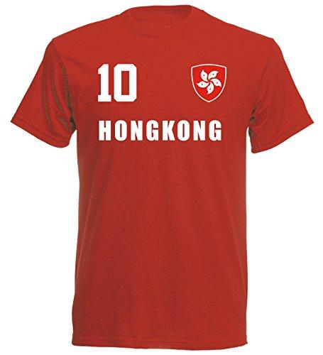 Hongkong China WM 2018 T-Shirt Trikot Look - rot ALL-10 - S M L XL XXL (L)
