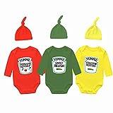 culbutomind Trillizos de bebé Trajes Lindo Traje Tomate Ketchup Mostaza Funny Hat Twins Bodysuits Set