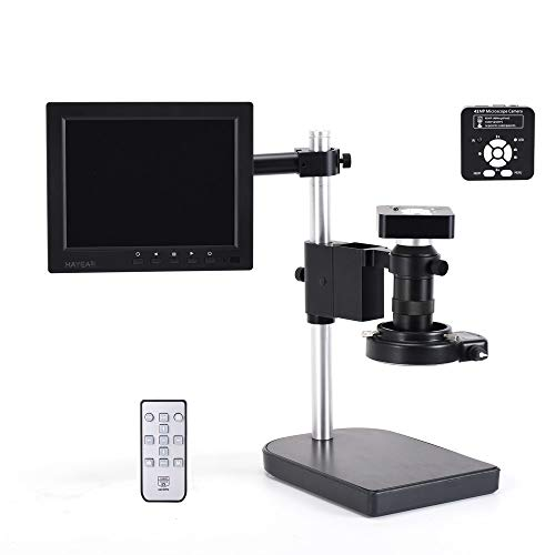 HAYEAR 41MP HD HDMI USB Digital Video Microscope Camera Zoom C-Mount Lens 8 Inch LCD Monitor for Industry Check Circuit Board Repair Soldering PCB Coins Jewelry Appraising