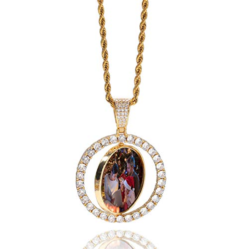 Collar giratorio Collar con foto personalizado Collar con colgante de cobre Collar con foto en color Collar de hip hop(Chapado en oro 24)