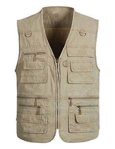Wildestdream Men's Casual Outdoor Work Photo Journalist Fishing Pockets Vest (Khaki, X-Large)