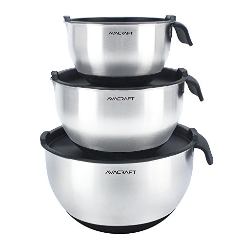 AVACRAFT 18/10 Top Rated Stainless Steel Mixing Bowls with Lids