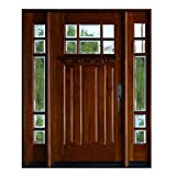 6 Lite Exterior Wood Door and 12 inch Sidelites, Mahogany Wood, Prehung and Prefinish, Beveled Glass, (12'X36'X12'X80', Left-Hand)