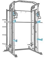 CapitalSports Amazor Basic - Jaula de musculación Multifuncional, hasta 500 Kg, J-Cups para 350 kg, Barra de dominadas para 150 Kg, Ajustable, Acero Revestido en Polvo, Viga de 60 x 60 x 2 mm