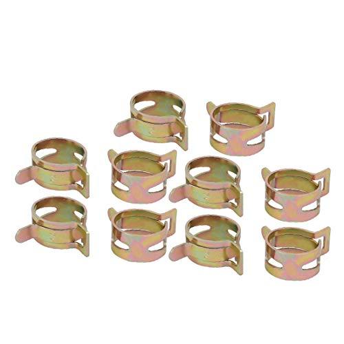 New Lon0167 10 piezas 14mm Tipo de banda de resorte Acción Manguera de combustible Tubo Abrazadera de aire Tono de bronce(10 Stücke 14mm Federband Typ Aktion Kraftstoffschlauch Rohr Luftklammer Bronze