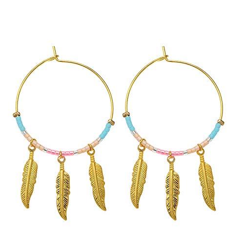 Yehwang Opgericht 2008 Premium Design dames modesieraad - gouden oorbellen met parels en veerhanger - roestvrij staal - nikkelvrij - bonte veren - roze