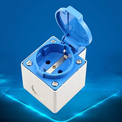 HshDUti EU-Stecker 16A 250V IP44 Wasserdichte Steckdose für Badezimmer im Freien - Blau + Weiß