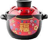 Cazuela de cerámica redonda con tapa Olla de barro de dibujos animados para estofar Estofado lento resistente al calor Olla de sopa antiadherente Olla de barro para comida de bebé Sopa al vapor Un cer