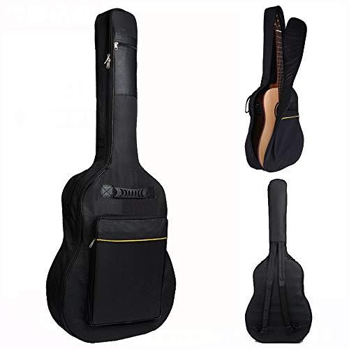 SMARTRICH アコギ ギターケーススポンジ 防水 ギターカバン 大容量ポケット ギグバッグ 肩掛け 手提げ 40インチ/41インチのアコースティックギターに適用 機能性 【ブラック】