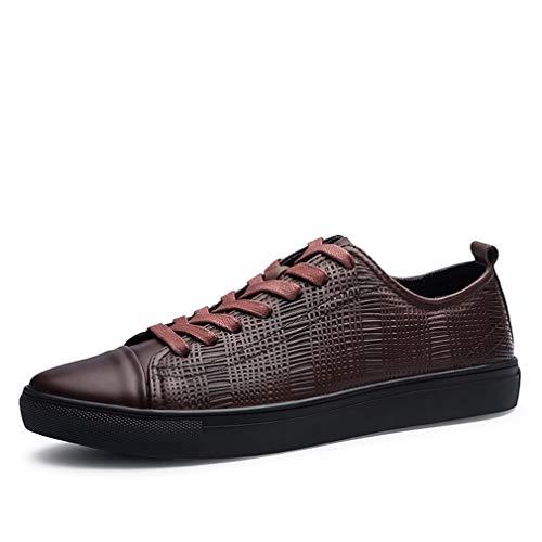 YAN Herren Deck Schuhe, Outdoor-Leder Low-Top-Casual Schuhe Dämpfung Schnürschuhe Gummisohle Schuhe Street Dance Schuhe (Farbe : Braun, Größe : 47)