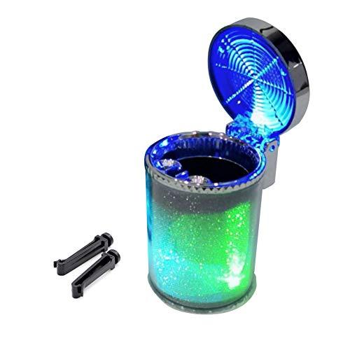 HshDUti Auto-Blaue LED Lichtanzeige Abfalleimer Aschenbecher rauchloser Zylinder Behälter Halter 6 cm x 5 cm x 10 cm