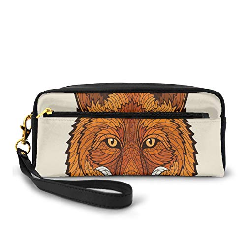 Pencil Case Pen Bag Pouch Stationary,Wild Fox Portrait in Mosaic Inspired Style Furry Animal Smart Eyes Mascot Icon,Small Makeup Bag Coin Purse