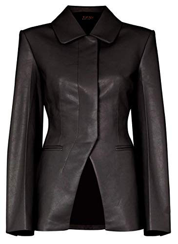 JUFAH Fantus - Chaqueta de piel auténtica para mujer, color gris, negro, rojo y marrón - negro - XX-Large