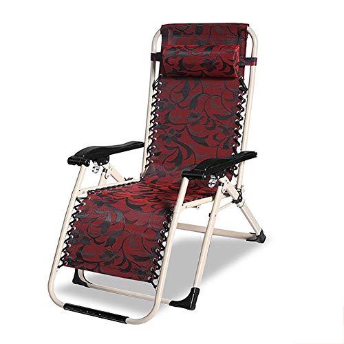 HOUADDY Gartenliege Sonnenliege, Klappbarer Liegestuhl Gartenstuhl- Verstellbar - Praktischer Klappstuhl, 178 x 66 x 38 cm, Statische Belastbarkeit, Kopfkissen abnehmbar, 250 kg max, Anthrazit,Red