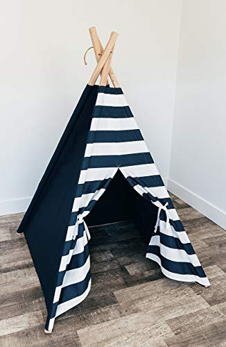 Navy teepee with navy/white stripe door
