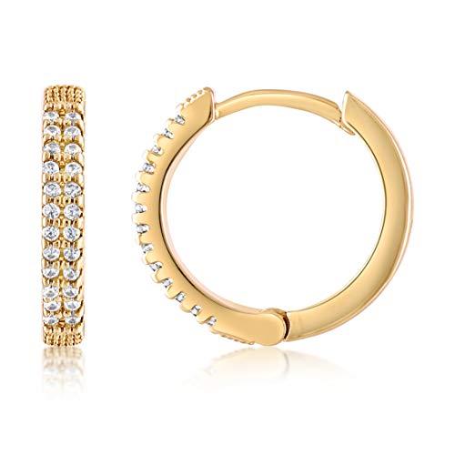 KISPER - Pendientes de aro para mujer chapados en oro de 18 quilates con circonita cúbica