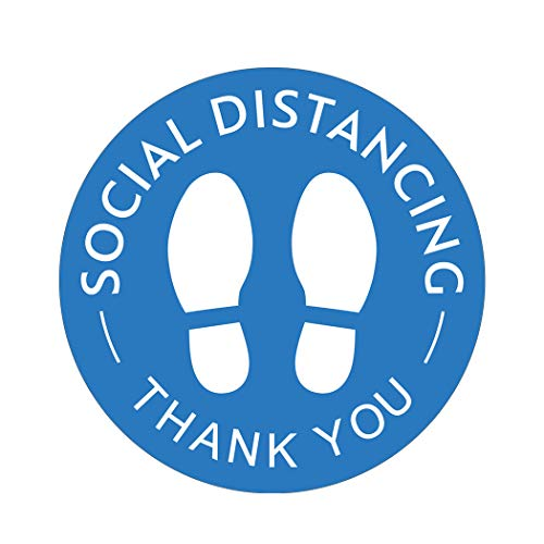 Social Distancing Floor Decals, Pack of 15, 8' Blue Removable Safety Sign, Waterproof Wait Here Sign Distance of 6 Feet Specialized Sticker Markers, for Crowd Control Guidance, Pharmacy, Bank, Lab