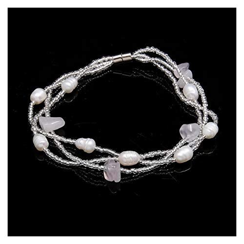 JINGGEGE Reisförmige Süßwasserperlenperlen Kies Armband 18,5 cm Für Elegante Frauen Liebe Romantische Schmuckgeschenk (Metal Color : Pink Crystal)
