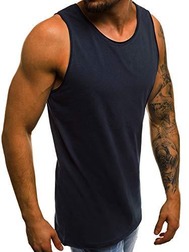 MOODOZ Herren Tank Top Tanktop Tankshirt Ärmellos Bodybuilding Shirt Unterhemd T-Shirt Tshirt Tee Muskelshirt Achselshirt Trägershirt Ärmellose Training Sport Fitness 777/0224BO DUNKELBLAU XL