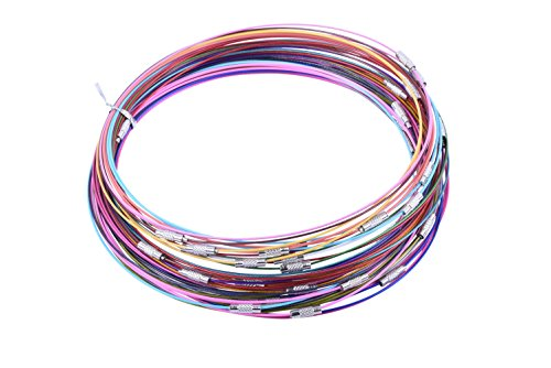 KONMAY 50pcs 18'' Charms Mix-Color Memory Wire Necklace Choker-Assorted 20 Different Colors