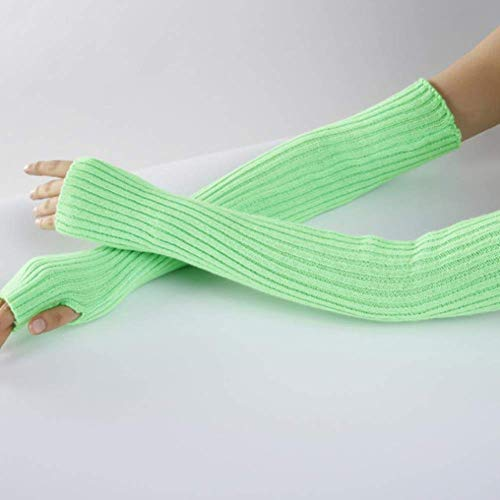 ZHTY Sonnencreme Handschuh Unisex Männer Damen Fingerlose Armwärmer Winter Warme Weiche Strickmitte Song (Color : Green, Size : A)