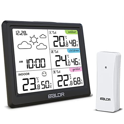 SOSPIRO Wetterstation Funk mit 3 Außensensor, Multifunktionale Funkwetterstation Thermometer Hygrometer Thermometer Hygrometer Innen und Außen Raumthermometer Hydrometer Feuchtigkeit Wettervorhersage