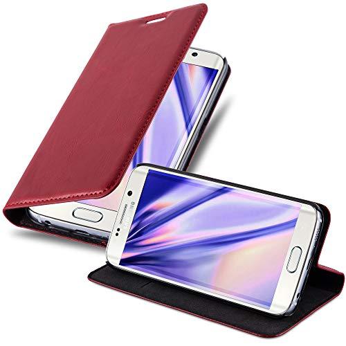 Cadorabo Hülle für Samsung Galaxy S6 Edge in Apfel ROT - Handyhülle mit Magnetverschluss, Standfunktion & Kartenfach - Hülle Cover Schutzhülle Etui Tasche Book Klapp Style