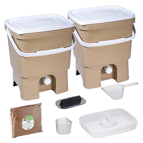 Skaza Bokashi Organko Set (2 x 16 L) 2X Garten- und Küchenkomposter aus Recyceltem Kunststoff | Starterset mit Fermentationsaktivator Bokashi Organko 1 kg (Cappuccino-Weiß)