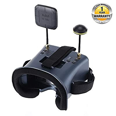 VR008 Pro FPV Goggles with DVR 4.3 Inch 5.8G 40CH Diversity FPV Headset Glasses Build in Battery and Carrying Case for RC Quadcopter