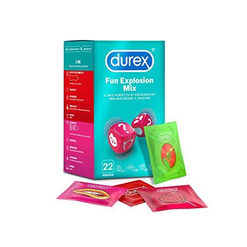 Durex Fun Explosion Mix di Preservativi Stimolanti e Aromatizzati, 22 Profilattici, Esclusiva Online