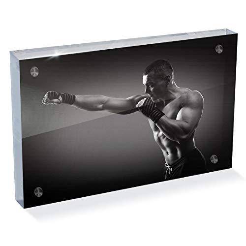 Destination Vinyl Ltd - Blocco fotografico in acrilico, 6 x 4 cm, motivo: boxe, MMA e palestra | Scrivania Office Art 42622