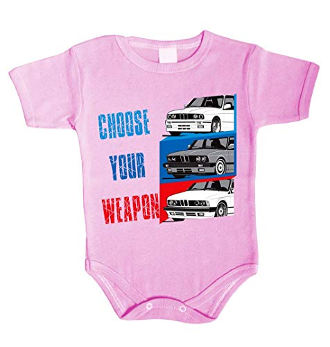 Choose Your Weapon Power Baby Body inspiriert von M3 M5 M6 X6 X5 M E30 E46 F10 Driver Babykleidung Strampler Unterwäsche Xmas Gift (62 (0-3 m), Rosa)