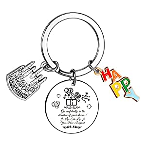 21st Birthday Keyring Gifts for Girls Teen Famale,Sweet Happy Birthday Inspirational Personalized Keychain Gifts for Man Women