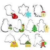 WSYW Juego de 10 cortadores de galletas de acero inoxidable para galletas, moldes para hornear, campanas de árbol de Navidad, formas de muñeco de nieve para bricolaje para hornear galletas