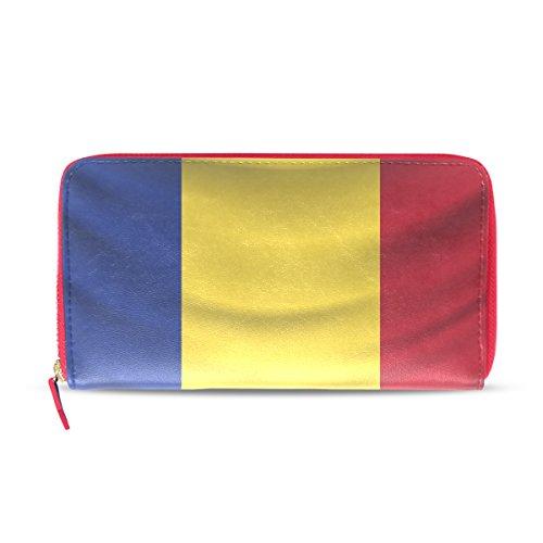 Damen Geldbörse Leder Distressed Romania Flagge Clutch, Kartenhalter Geldbörse Handtasche Geschenk für Ihr Mädchen