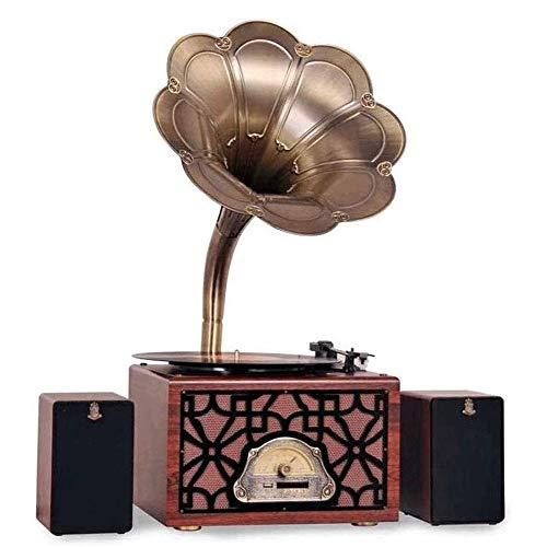 JIE KE Caja de música con Cassette Big Vintage Retro Clásico Gramófono Fonógrafo Forma Estéreo Sistema de Sonido Sistema de Sonido Caja de música 3.5mm Audio Azul Diente Altavoz
