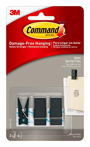Command Spring Clips, Slate, 3-Clips (17089S-ES), Decorate Damage-Free