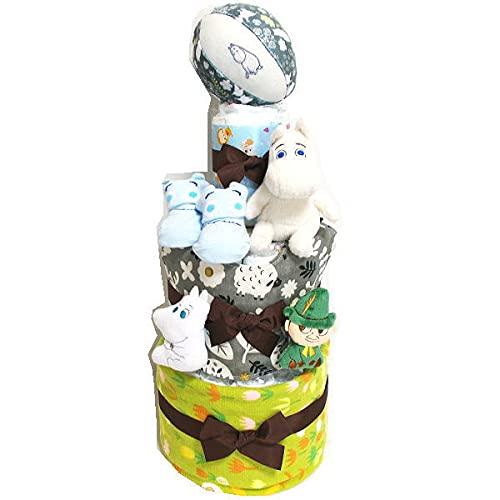 2130おむつケーキ3段男の子女の子ムーミンぬいぐるみ・ボール・玩具・ベビーソックス オムツケーキ出産祝い