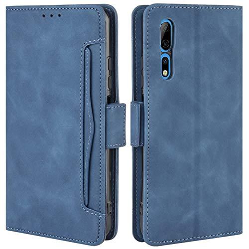 HualuBro Handyhülle für ZTE Axon 10 Pro Hülle Leder, Flip Hülle Cover Stoßfest Klapphülle Handytasche Schutzhülle für ZTE Axon 10 Pro 5G Tasche (Blau)