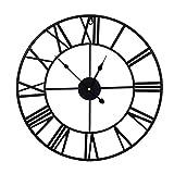 BCBKD Reloj De Pared Grande Y Silencioso, Reloj Vintage Industrial Europeo con NúMeros Romanos, Reloj De DecoracióN De Esqueleto De Metal con Pilas para La DecoracióN del Hogar Black,40X40cm