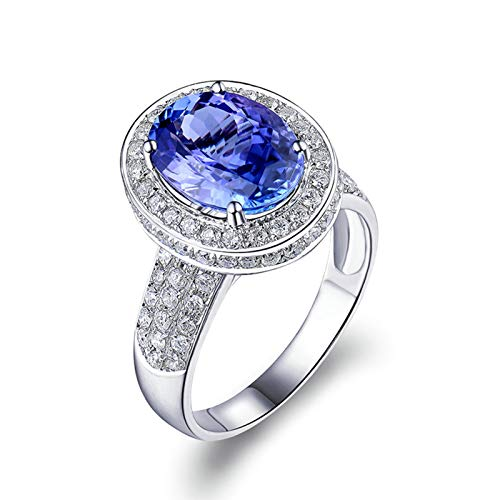 AmDxD no-metal-stamp (Fashion only) oro blanco 18 ct ovalada Blue Tanzanite